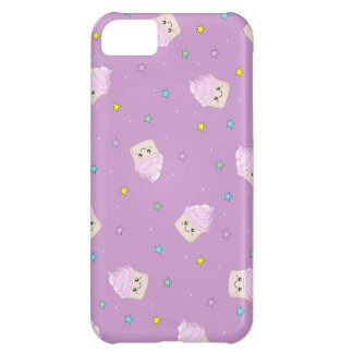 Cute pink cupcakes and stars pattern on altrose cover for iPhone 5C
