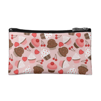Cute Pink Cupcakes, Hearts And Cherries Pattern Cosmetic Bags