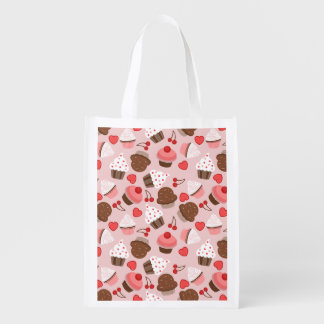Cute Pink Cupcakes, Hearts And Cherries Pattern Grocery Bag