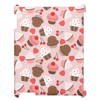 Cute Pink Cupcakes, Hearts And Cherries Pattern iPad Cases