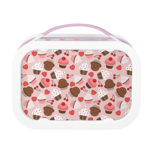 Cute Pink Cupcakes Hearts And Cherries Pattern Lunch Box
