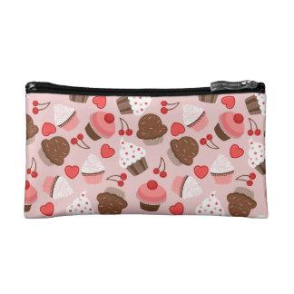 Cute Pink Cupcakes, Hearts And Cherries Pattern Makeup Bag