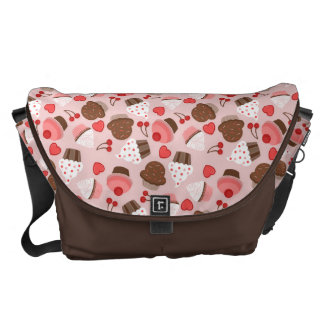 Cute Pink Cupcakes, Hearts And Cherries Pattern Messenger Bag