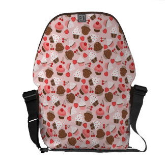 Cute Pink Cupcakes, Hearts And Cherries Pattern Courier Bag