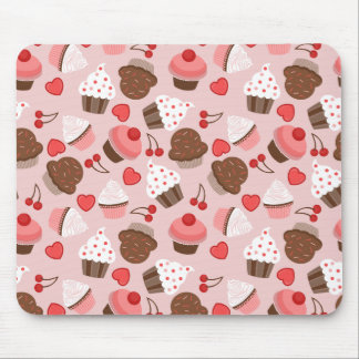 Cute Pink Cupcakes, Hearts And Cherries Pattern Mouse Pad