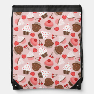 Cute Pink Cupcakes, Hearts And Cherries Pattern Backpacks