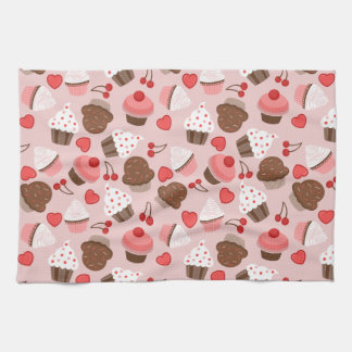 Cute Pink Cupcakes, Hearts And Cherries Pattern Towel