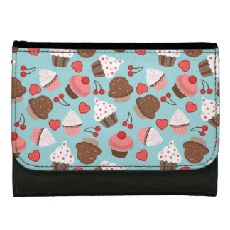 Cute Pink Cupcakes, Hearts And Cherries Pattern Women's Wallet