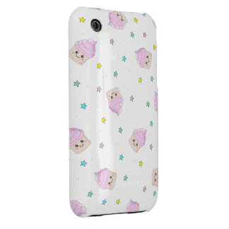 Cute pink cupcakes pattern iPhone 3 case
