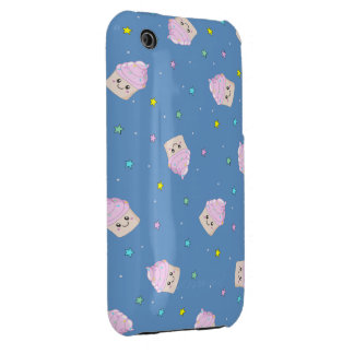 Cute pink cupcakes pattern on blue iPhone 3 cases