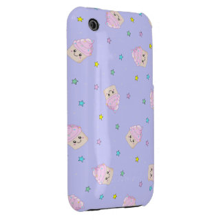 Cute pink cupcakes pattern on lilac purple iPhone 3 cover