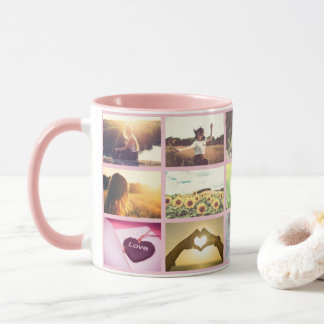 Cute pink custom photo grid mug