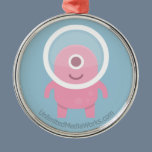 Cute Pink Cyclops Alien Metal Ornament