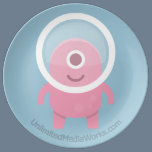 Cute Pink Cyclops Alien Plate