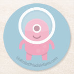 Cute Pink Cyclops Alien Round Paper Coaster