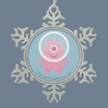 Cute Pink Cyclops Alien Snowflake Pewter Christmas Ornament