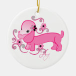 Cute Pink Dachshund Double-Sided Ceramic Round Christmas Ornament