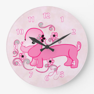 Cute Pink Dachshund Large Clock