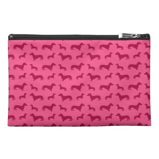 Cute pink dachshund pattern travel accessories bag
