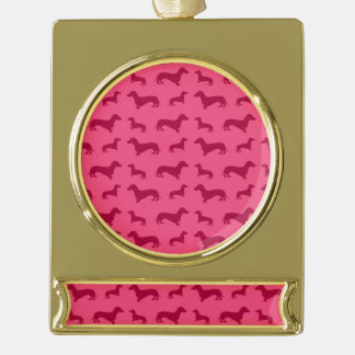 Cute pink dachshund pattern gold plated banner ornament