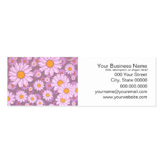 Cute PInk Daisies over Lavender Background Double-Sided Mini Business Cards (Pack Of 20)