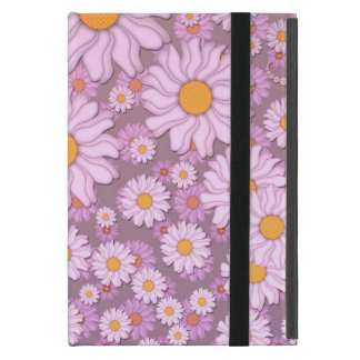 Cute PInk Daisies over Lavender Background iPad Mini Covers