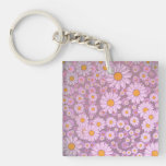 Cute PInk Daisies over Lavender Background Acrylic Key Chain