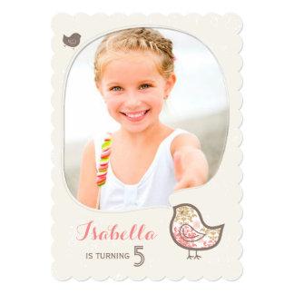 Cute Pink Damask Bird Girl Photo Birthday Party Card