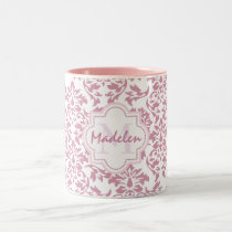 cute pink damask,name initial monogram Two-Tone coffee mug