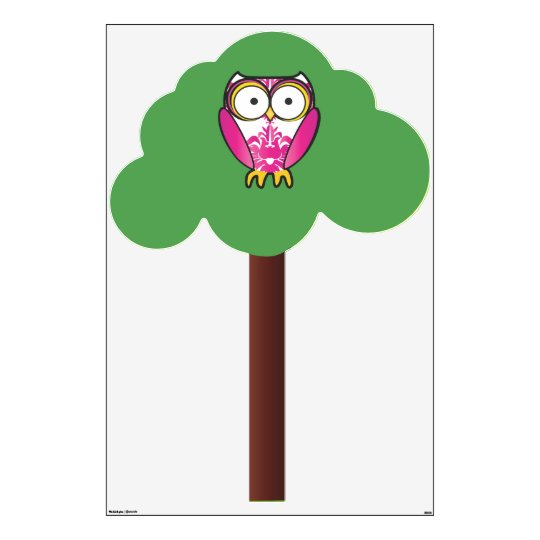 Cute Pink Damask Owl Pattern in Tree Wall Decal