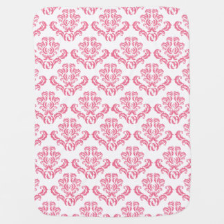 Cute Pink Damask Pattern Baby Blanket