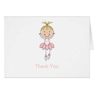 Cute , Pink, Dancing  Ballerina Thank You Greeting Cards