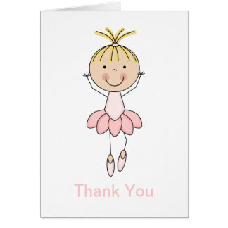 Cute , Pink, Dancing  Ballerina Thank You Cards