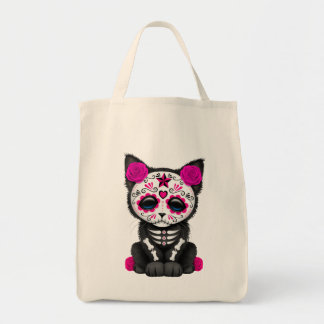 Cute Pink Day of the Dead Kitten Cat Grocery Tote Bag