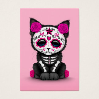 Cute Pink Day of the Dead Kitten Cat Business Card