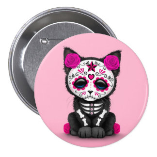 Cute Pink Day of the Dead Kitten Cat 3 Inch Round Button