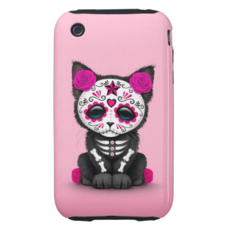Cute Pink Day of the Dead Kitten Cat Tough iPhone 3 Case