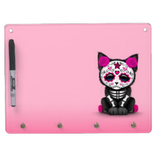Cute Pink Day of the Dead Kitten Cat Dry Erase Board With Keychain Holder