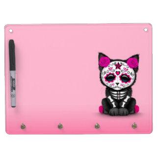 Cute Pink Day of the Dead Kitten Cat Dry-Erase Board
