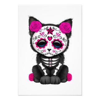 Cute Pink Day of the Dead Kitten Cat Custom Invites