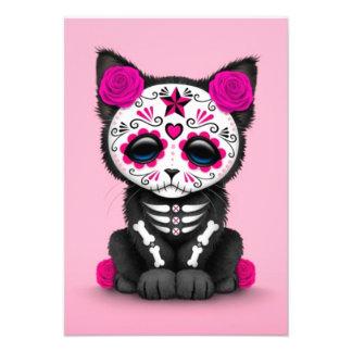 Cute Pink Day of the Dead Kitten Cat Custom Invite