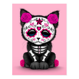 Cute Pink Day of the Dead Kitten Cat Postcard