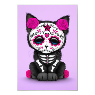 Cute Pink Day of the Dead Kitten Cat, purple 3.5x5 Paper Invitation Card