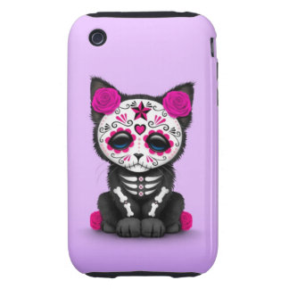 Cute Pink Day of the Dead Kitten Cat purple iPhone 3 Tough Cases