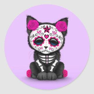 Cute Pink Day of the Dead Kitten Cat, purple Classic Round Sticker