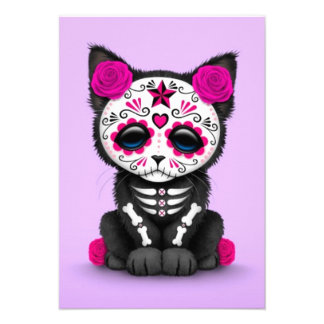 Cute Pink Day of the Dead Kitten Cat purple Invites