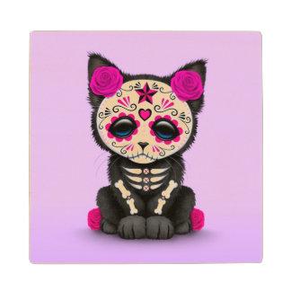 Cute Pink Day of the Dead Kitten Cat, Purple Wood Coaster
