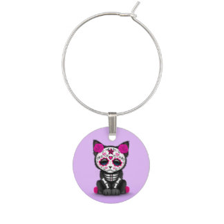 Cute Pink Day of the Dead Kitten Cat, Purple Wine Charms