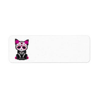 Cute Pink Day of the Dead Kitten Cat Return Address Label