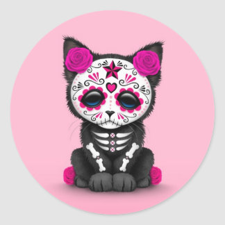 Cute Pink Day of the Dead Kitten Cat Round Stickers